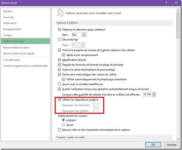 Séparateur décimal Excel