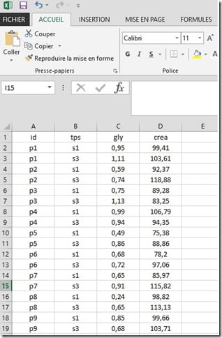 données sous Excel à importer