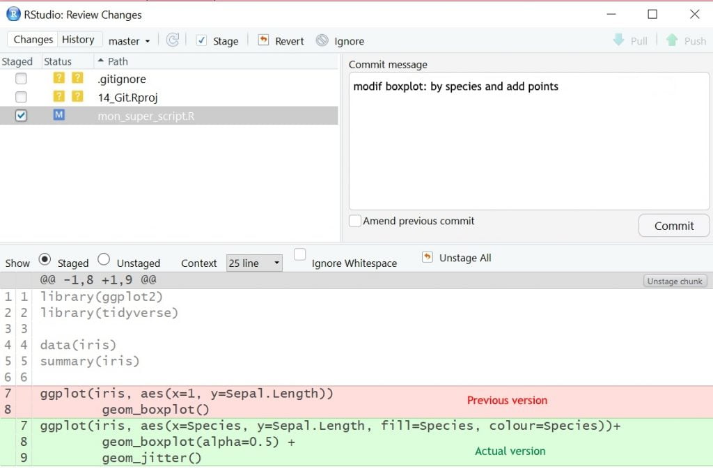 visualisation des modifications de code