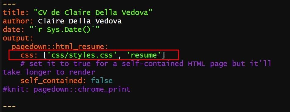 personnalisation du CV avec CSS