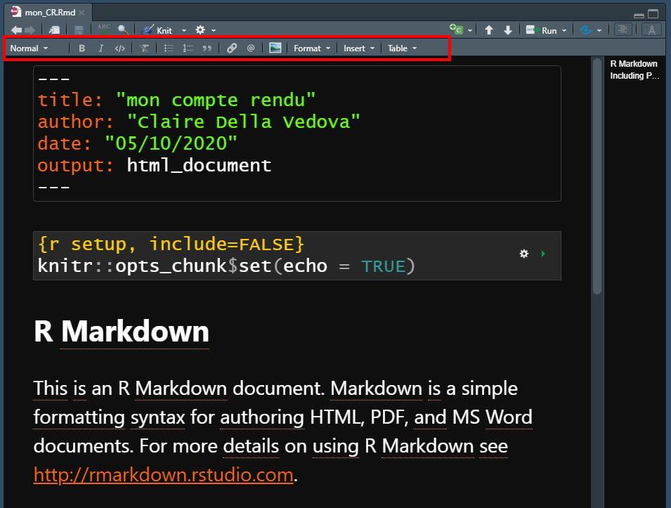 éditeur visuel rmarkdown