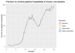 représentation des prévisions du nombre de patients hospitalisés à l'horizon une semaine